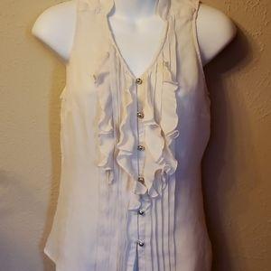 White Black silk  dressy top